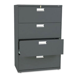 HON - HON 600 Series 36 Inch Four Drawer Lateral File - HON684LL - Shop for File and Storage Cabinets from Hayneedle.com! Keep files neat organized and secure with the HON 600 Series 36-Inch Four-Drawer Lateral File. This tall wide file cabinet has four generously sized drawers that hold letter or legal folders. A lock at the top of the cabinet keeps your important files safe and the lock controls all openings. A mechanical interlock feature allows only one drawer to open at a time which prevents the file cabinet from tipping.Designed for intense daily use this file cabinet has a three-part telescoping slide suspension and leveling glides are adjustable for uneven floors. It is available in your choice of putty black light gray or light charcoal finish. Delivered fully assembled. Dimensions: 36W x 19.25D x 53.25H inches.About the HON CompanyHeadquartered in Muscatine Iowa the HON Company is established as a leader in the office furniture industry. The HON Company designs and manufactures products including chairs files panel systems tables and desks. With several national manufacturing facilities the company provides products through a system of dealers and retailers throughout the United States.As the landscape of today's office and classroom continues to change with new technologies the HON Company has created office furniture teacher stations and student desks that anticipate and adapt to the newest waves of high-tech products. Additionally in an effort to think and act green the HON Company uses less packing material reduces their amount of fabric waste and uses recycled wood from other furniture.