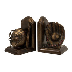 Accents - Set of 2 Argento Home Run Bookends - These sports bookends come in an Argento style perfect for any decor. Handmade by talented artisans in China,the Home Run bookends will provide stunning beauty to any shelf.