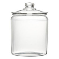 Heritage Hill 64 oz. Glass Jar with Lid - A refresher course in retro storage and service. These classic lidded glass jars have been in production since the 1940s, the perfect see-through container for snacks or for ladling up beverages like lemonade or sangria.