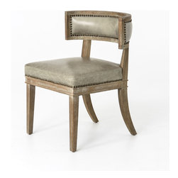 Four Hands - Carter Dining Chair - The curved lines and gracious proportions are inspired by the classic Klismos, but this dining chair is truly an original, from the hand-carved whitewashed oak legs to the nailhead trim.