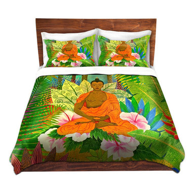 DiaNoche Designs - Duvet Cover Microfiber - Buddha In the Jungle - DiaNoche Designs works with artists from around the world to bring unique, artistic products to decorate all aspects of your home.  Super lightweight and extremely soft Premium Microfiber Duvet Cover (only) in sizes Twin, Queen, King.  Shams NOT included.  This duvet is designed to wash upon arrival for maximum softness.   Each duvet starts by looming the fabric and cutting to the size ordered.  The Image is printed and your Duvet Cover is meticulously sewn together with ties in each corner and a hidden zip closure.  All in the USA!!  Poly microfiber top and underside.  Dye Sublimation printing permanently adheres the ink to the material for long life and durability.  Machine Washable cold with light detergent and dry on low.  Product may vary slightly from image.  Shams not included.