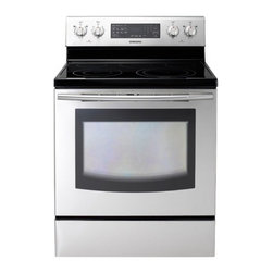 """Samsung - NE595R0ABSR 30"""" Freestanding Electric Range With 5 Burners  5.9 Cu. Ft.  Self-Cl - The Samsung Appliance NE595R0AB 59 Cu Ft capacity oven is one of the largest on the market and is spacious enough to fit that holiday meal you may be planning With the SteamQuick rapid steam cleaning cleaning is fast easy and energy efficient that re..."""