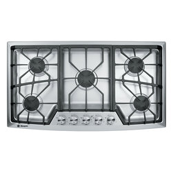 """GE Monogram - GE Monogram® 36"""" Stainless Steel Gas Cooktop (Natural Gas) - Monogram gas cooktops have gracefully designed grates that interlock for stability and master the art of precision with complete simmer-to-boil flexibility on all dual-flame, stacked burners."""
