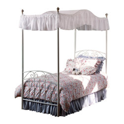 Hillsdale - Hillsdale Emily Princess Metal Canopy Bed in White Finish-Twin - Hillsdale - Beds - 11180BTWPR - The Emily bed features a powder coat finish in refreshing white emphasizing its romantic Victorian charm. Enchanting decorative detail includes a painted floral motif on the finials a double arched headboard and footboard and subtle spiraling scrollwork.