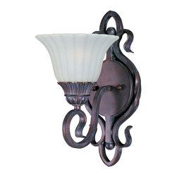 Maxim Lighting - Maxim Lighting Via Roma Traditional Wall Sconce X-BGVS6872 - Ornately curved metal in Greek Bronze is used to form Maxim Lighting's Via Roma Traditional Wall Sconce. For those seeking more than simple lines in a traditional wall sconce, the Via Roma with its fluted Soft Vanilla glass shade and intricate scrollwork offers distinct possibilities for the powder room or bath.