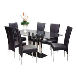 Chintaly Cilla 7 pc. Rectangular Dining Set - Entertain dinner guests in high style with the Chintaly Cilla 7 pc. Rectangular Dining Set. This sleek contemporary set allows you to host unforgettable dinner parties in magnificent style. The table's base has a solid black marble base plate beneath four stainless steel columns with a gleaming brushed finish. Atop the columns a rectangular tabletop with a beveled outer edge provides a beautiful surface that allows you to see the table base's beauty from any angle. Sophisticated elegance meets contemporary style in the six Cilla Leather Chairs included with this set. Crafted from metal these chairs are sturdy and feature slender polished stainless steel legs. The lightly padded seats and backs are upholstered in black faux leather for a luxurious look and feel. The backs are high and gently arched providing comfort and lumbar support and add a delicate curve to the design of the chairs. Sleek modern and fresh this dining set will show off your winning sense of style and design. Chair dimensions: 18L x 31W x 37.75H inches. Table dimensions: 71L x 40W x 30H inches. About Chintaly ImportsBased in Farmingdale NY Chintaly Imports is an importer of casual dining and leather upholstery. They offer a variety of products from bar stools to curio cabinets and are known for their innovative contemporary designs.