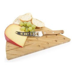 Bamboo Cheese Board - This adorable bamboo cheese set was exclusively designed for cheese lovers. Designed to look like a wedge of cheese, this cheesy board comes with a cheese knife to slice up all of your favorite cheeses. Ideal for those who love to entertain, this set is constructed of 100% organically grown bamboo, and is perfect for those who love cheese and love serving it to their friends too!