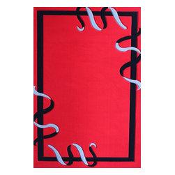 Rug - Red Geometric Area Rug Machine Made, Red, 5 X 8 Ft., Geometric, Machine Made Are - Living Room Hand-tufted Shaggy Area Rug
