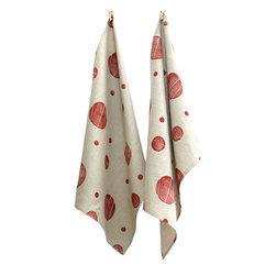 BZDesign - Hand Block Printed Tea Towel Brick Red - Hand block printed tea towels with our circles print in brick red.