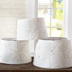 "Tapered Drum Starburst Tonal Embroidered Lamp Shade, Large, Ivory - Embroidered star bursts in tonal shades bring a rich handcrafted ambiance to your lighting. Small: 13.5"" diameter, 8.5"" high Medium: 15"" diameter, 9.5"" high Large: 17"" diameter, 10.5"" high Pure cotton shade with styrene lining. Pair with any of our Mix & Match(R) lamp bases (sold separately)."