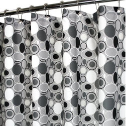 Watershed - Watershed Stones Shower Curtain Multicolor - STON40-ASV - Shop for Shower Curtains from Hayneedle.com! A fun retro circle design in black and white makes the Park B Smith Stones Shower Curtain a perfect way to update your guest bath. This fabric shower curtain is made of fast-drying polyester that is machine-washable needs no liner and resists allergies and mold. Grommets at the top make it easy to hang and weights at the bottom keep it in place.