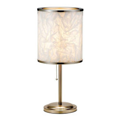Adesso - Adesso Papyrus Table Lamp - Each Papyrus lamp has a double-layered shade which is acrylic on the outside and lined with white PVC. Hand crumpled white tissue-like paper is stuffed between the two layers. To complete this inspired design the shade is banded top and bottom with satin steel accents. Satin steel base and stick pole. Matching ball-accented on/off pull chain switch. Each takes one 60 Watt incandescent or 13 Watt CFL bulb. 20 in Height, 6.5 in Round base. Shade 10 in Height, 8.75 in Diameter.