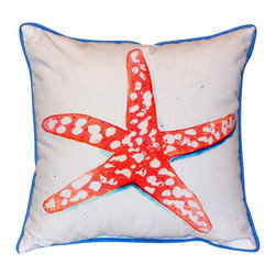 Betsy Drake - Betsy Drake Coral Starfish Pillow- Indoor/Outdoor - Coral Starfish Pillow- Large indoor/outdoor pillow. These versatile pillows are equal at enhancing your homes seaside decor and adding coastal charm to an outdoor setting arrangment. They feature printed outdoor, fade resistant fabric for years of wear and enjoyment. Solid back, polyfill. Proudly made in the USA.