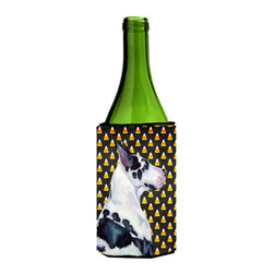 Caroline's Treasures - Great Dane Candy Corn Halloween Portrait Wine Bottle Koozie Hugger LH9067LITERK - Great Dane Candy Corn Halloween Portrait Wine Bottle Koozie Hugger LH9067LITERK Fits 750 ml. wine or other beverage bottles. Fits 24 oz. cans or pint bottles. Great collapsible koozie for large cans of beer, Energy Drinks or large Iced Tea beverages. Great to keep track of your beverage and add a bit of flair to a gathering. Wash the hugger in your washing machine. Design will not come off.