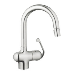 Grohe - Grohe 32256SD0 Prep Sink Dual Spray Pull Down In Stainless Steel - Grohe 32256SD0 from the Ladylux Faucet Collection follows the tradition of the original Ladylux, the first kitchen faucet in the United States with a pull out spray. With a contemporay design to match neary any design and a dual spray trigger style spray control and SilkMove technology for improved performance. The Grohe 32256SD0 is a Prep Sink Dual Spray Pull Down With a Stainless Steel Finish for a non-reflective cool finish.