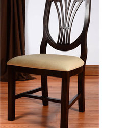 None - Shield Back Beech Wood Dining Chair - This gorgeous shield back dining chair features long-lasting, durable beech wood construction. The deep, dark finish and cream upholstery color will complement any home decor.