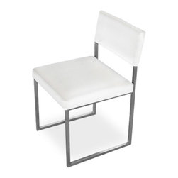 Gus Modern - Graph Chair set of 2, Vinyl Snow - Graph Chair by Gus Modern. This beautiful chair features an architectural inspired metal frame with an upholstered seat and back. Available in Coal or Snow Vinyl. Stainless steel frame.