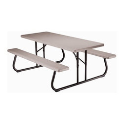 "Lifetime - Folding Picnic Table - Features: -Picnic table.-Seats 6 - 8 people.-Easily set up in the sun or shade.-Accommodate an umbrella hole in the center of the table.-Specifically designed to be lightweight yet strong and durable.-Easy to clean and resistant to chipping and cracking.-Frame is strong, rust resistant, and easy to fold up for convenient storage.-Great investment for many years of entertaining.-Umbrella hole pop-out.-Folds flat for storage and transport.-Material: Powder-coated steel, HDPE Polyethylene plastic.-Top Material: High-density polyethylene plastic.-Seating Capacity: 8.-Distressed: No.-Gloss Finish: No.-Weather Resistant or Weatherproof: Weather Resistant.-Water Resistant or Waterproof: Water Resistant.-UV Resistant: Yes.-Mildew Resistant: No.-Glass Top: No.-Table Leaf Included: No.-Stacking: No.-Fade Resistant: Yes.-Firepit Available: No.-Lazy Susan Included: No.-Commercial Use: Yes.-Eco-Friendly: No.-Hardware Material: Steel.-Recycled Content : No.-Number of Tables in Set (Quantity: 1): 1.-Number of Tables in Set (Quantity: 10): 10.-Number of Tables in Set (Quantity: 4): 4.Specifications: -FSC Certified Wood: No.-Greenguard Certified: No.Dimensions: -72'' W.-Overall Height - Top to Bottom: 29"".-Overall Depth - Front to Back: 30"".-Leg Height: 26.83"".-Leg Width - Side to Side: 1.65"".-Leg Depth - Front to Back: 1.65"".-Folded Table Height: 4"".-Folded Table Width - Side to Side: 72"".-Folded Table Depth - Front to Back: 57"".-Umbrella Hole Diameter: 2"".-Overall Product Weight: 73.9 lbs.Assembly: -Assembly Required: Yes.-Tools Needed: Phillips Screwdriver.-Additional Parts Required: No.Warranty: -2 Year limited warranty.-Product Warranty: 2 year limited warranty."