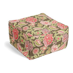 Pink & Green Playful Floral Square Pouf - The Square Pouf is the hottest thing in decor since the sectional sofa. This bean bag meets Moroccan style ottoman does triple duty as a comfy extra seat, fashion-forward footstool, or part-time occasional table.  We love it in this playful modern floral with juicy blooms of pink & purple dancing across a taupe cotton ground.