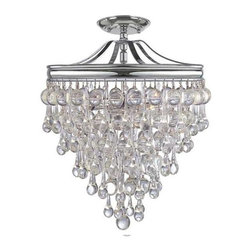 "Candelabra Home - Candelabra Home Calypso 3 Light Chrome Semi-Flush - TOTAL NUMBER LIGHTS: 3TOTAL WATTAGE: 180BULB TYPE: CandelabraMATERIAL: BrassFINISH: Polished ChromeCHAIN LENGTH: 72""/144"""