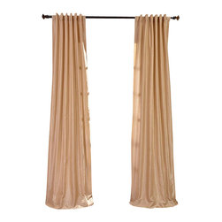 "Exclusive Fabrics & Furnishings, LLC - Almond Vintage Textured Faux Dupioni Silk Curtain - 100% Polyester. 3"" Pole Pocket with Back Tabs. Lined. Interlined. Imported. Weighted Hem. Dry Clean Only."