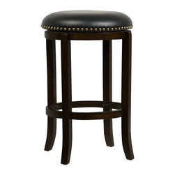 "Boraam - Boraam Cordova 24"" Swivel Bar Stool in Cappuccino - Boraam - Bar Stools - 33824 - This beautifully constructed swivel stool is the perfect addition to your home. The plush black seat embellished with genuine brass nail heads simply oozes sophistication. It is inevitable that the Cordova will compliment any style kitchen basement game room or bar! Composed of solid hardwood and engineered to perfection. Each leg has a strategic flare design that provides durability and balance to those who sit. The high-density foam encased with bonded leather on the seat issue the maximum level of comfort. Additionally the steel swivel plate features full ball bearing designs for an effortless three hundred and sixty degree turn. Manufactured with precise attention to detail the Cordova embodies features that are most important when searching for furniture seating; durability comfort and style. Performance tested by the leading testing facilities that are recognizable worldwide purchasing this stool is a smart choice and a wise investment. The Cordova is available in two different sizes and three delectable color finishes. Search for Boraam's pub tables and make the perfect three piece or five piece set!"
