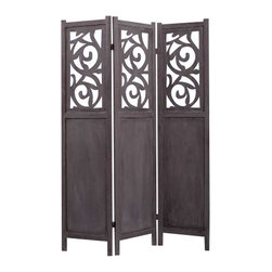 RECOILED SCREEN - Glam up your bedroom with this beautiful carved wood screen. Use it as a faux headboard to add elegance and mystery. It's finished on both sides and you'll be delighted with the result.