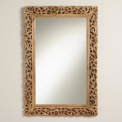Natural Segovia Mirror - Add warmth to your space with this large carved mirror. It has an eclectic, handmade feel that suits many styles. And the generous size is perfect for larger walls that need something substantial.