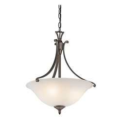 Kichler Lighting - Kichler Lighting Wellington Square Transitional Inverted Pendant Light X-ZO50434 - Sleek, curled arms and a lovely Satin Etched glass shade characterize the Kichler Lighting Wellington Square Transitional Inverted Pendant Light. Finished in Olde Bronze, the light fixture is a wonderful addition to kitchens, dining rooms, and living rooms!