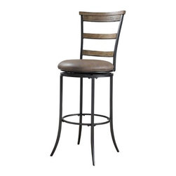 "Hillsdale - Charleston Ladder Back Swivel Bar Stool in Distressed Desert Tan - The Charleston ladder back swivel stool features 3 rungs in the rustic Desert Tan finish, enhanced by the dark grey metal and brown faux leather seat. Appealing alone or combined with the Charleston dining collection. Features: -Charleston collection. -Wood accent finish: Distressed desert tan. -Metal frame finish: Distressed dark gray. -100% Polyester, dark brown, faux leather seat. -360 Degree swivel. -Some assembly required. -Seat height: 30"". -Dimensions: 46"" Height x 17.5"" Width x 21.6"" Depth."