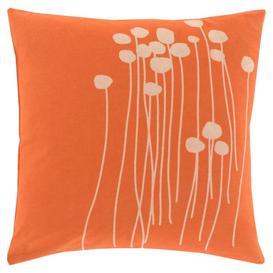 "Surya - Surya LJA-001 Pillow, 18"" x 18"", Poly Fiber Filler - With the personal stamp of creative, inspired design brought to you by Lotta Jansdotter, this piece will embody grace in your space. Made in India in 100% cotton, an etched, hand stamped print in bold beige pops against a vibrantly colored backdrop offers a pillow that will truly be an ideal inclusion from room to room within any home decor."