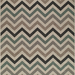 """Momeni - Baja Sage Outdoor Indoor Chevron 5'3"""" x 7'6"""" Momeni Rug by RugLots - Bold and exciting colors patterns allow trend-conscious customers to create their ultimate indoor/outdoor oasis. Baja thrives on simple graphic patterns with a refreshing twist of runway fashion and lively color palettes. Machine-made in Egypt of 100% polypropylene and approved for use outdoors."""