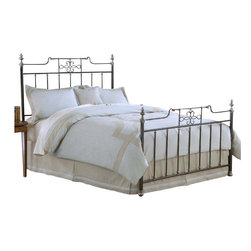 Hillsdale Furniture - Hillsdale Amelia Metal Bed in Frosted Black - King - The Amelia bed showcases a unique silhouette and extraordinary attention to detail. More than just your traditional square bed with spindles, the Amelia bed has an unusual center design with intricate scroll work. In addition to the lovely frosted black finish are the many golden accents, such as the finials, feet and castings at the ends of each spindle. A classic and timeless bed with a touch of flair, the Amelia is a delightful, one-of-kind addition to any home.