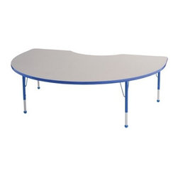 ECR4KIDS 48 inch x 72 inch Kidney Adjustable Table - Gather your children around this uniquely shaped table for a round of educational fun. The Early Childhood Resources Kidney Adjustable Table is an excellent choice for daycare and classroom settings. Able to seat up to seven kids at once the kidney-shaped tabletop features smooth rounded corners with bright edge banding available in a variety of colors. The thick recycled particleboard table is laminated on both sides which gives you a stain-resistant and easy-to-clean surface. This safe non-toxic table will not fade or discolor. The adjustable metal legs are powder-coated on top and chrome-plated on the bottom with matching ball glides for feet. The table can also be adjusted in height to fit children of a specific age or grade. The table adjusts 15-23 inches high or adjusts 19-30 inches high. Both table options carry a seven-year manufacturer's warranty. Chairs are sold separately. Adult assembly is required. Tabletop Details: Gray laminate tabletop is laminated on both sides and measures 1.125 inches thick. Table substructure is made from medium-density particleboard that is at least 90% recycled (minimum 4% post-consumer balance pre-consumer). Bright color banding is available in a variety of popular classroom colors. Color banding grips into the tabletop edges and is pinned in place every 6-8 inches with recessed nails to ensure that the banding remains firmly in place. Color banding is made from PET and contains no phthalates. Rounded corners for extra safety. EPP certified CARB compliant and may contribute to U.S. Green Building Council's LEED™ Credits MR 4.1 and 4.2. Leg Details: Durable powder-coated paint on upper leg. Color matches the banding. Chrome-plated adjustable lower leg insert. Legs are adjustable in 1-inch increments Threaded adjustment holes in lower leg keep legs securely in place. Color-coordinated polypropylene ball glides. Pre-installed brackets and pre-drilled screw holes make leg mount installation and alignment easy. 18-gauge galvanized steel stability bars with poly caps are installed on the underside for extra strength. Available in 2 sizes: Toddler table measures 72L x 48W x 15-23H inches. Standard table measures 72L x 48W x 19-30H inches. About Early Childhood ResourcesEarly Childhood Resources is a wholesale manufacturer of early childhood and educational products. It is committed to developing and distributing only the highest-quality products ensuring that these products represent the maximum value in the marketplace. Combining its responsibility to the community and its desire to be environmentally conscious Early Childhood Resources has eliminated almost all of its cardboard waste by implementing commercial Cardboard Shredding equipment in its facilities. You can be assured of maximum value with Early Childhood Resources.