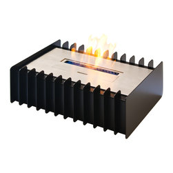 "Ignis - EBG1400 Ethanol Fireplace Grate - Say goodbye to the mess and fuss of using a wood-burning fireplace and convert your existing unit to an ethanol fireplace with the help of this EBG1400 Ethanol Fireplace Grate and Burner Set. This set is ventless, so you don't need a chimney or special gas lines or electric lines to use it. It has a sleek modern look that brings contemporary flair to your fireplace setup, and can be used in individually designed custom units. It holds up to three liters of earth-friendly ethanol that will not produce any dangerous gas, smoke, or soot, and one fill lasts for up to nine hours. The unit puts out 6,000 BTUs of heat, so you'll stay warm and cozy in rooms of most size. This is a great unit for a family room, den, or even a bedroom. Dimensions: Grate: 14 1/4"" x 11"" x 4 3/4"". Burner: 13 3/4"" x 7 1/4"" x 3 1/4"". Features: Eco-Friendly - doesn't produce any smoke, sooth or dangerous gases. Easy Maintenance - just wipe it with a damp cloth once in a while."