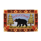 Homefires - Bear Lake Rug - You know that log cabin in the woods that you've always wanted? You're a step closer with a country lodge themed, bear area rug. Machine washable   with wool resemblance, the only thing this rug is missing is a crackling fire next to it.