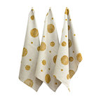 BZDesign - Hand Block Printed Tea Towel Gold - Hand block printed tea towels with our circles print in gold.