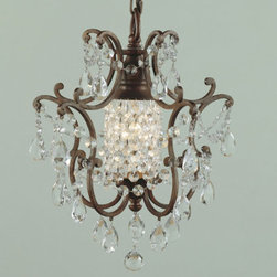 Verdi One Light Chandelier - Covered in multi-faceted crystals and uniquely designed with one light, the Verdi chandelier is just the right size for a powder room or small entry.  This fixture would also work well in a Master bath.