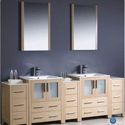 """Fresca - Fresca Torino 84"""" Light Oak Modern Double Sink Bathroom Vanity with 3 Side Cabin - Fresca is pleased to usher in a new age of customization with the introduction of its Torino line. The frosted glass panels of the doors balance out the sleek and modern lines of Torino, making it fit perfectly in either 'Town' or 'Country' décor. Available in the rich finishes of Espresso, Glossy White, Light Oak and Walnut Brown, all of the vanities in the Torino line come with either a ceramic vessel bowl or the option of a sleek modern ceramic integrated sink.Features Materials: Plywood w/ Veneer, Ceramic Sinks w/ Overflow Single Hole Faucet Mounts (Faucets Shown In Picture May No Longer Be Available So Please Check Compatible Faucet List) Optional Leg Extensions Included P-traps, Faucets, Pop-Up Drains and Installation Hardware Included Overflow: Yes How to handle your counter Installation GuideView Spec Sheets 1 View Spec Sheets 2"""
