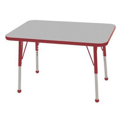 """Ecr4kids - Ecr4Kids Adjustable Activity Table - Rectangular 24"""" X 36"""" Elr-14106-Grd-Tb Red - Table tops feature stain-resistant and easy to clean laminate on both sides. Adjustable legs available in 3 different size ranges: Standard (19""""-30""""), Toddler (15""""-23""""), Chunky (15""""-24""""). Specify edge banding and leg color. Specify leg type."""