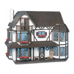 "Harrison Dollhouse - The Harrison dollhouse is styled like a beautiful Tudor mansion. It uses movable partitions to create up to nine large rooms and has six bay windows. Bonus: There's even a hidden roof panel leading into a ""secret"" third floor studio room with French doors that open onto a terrace."