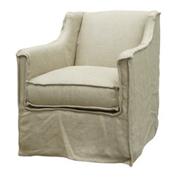 Marco Polo Imports - Ella Swivel Chair - Balancing dramatic scale with flea marketing-find design, the Ella swivel chair offers comfortable seating with fresh lines. Upholstered in 100% natural hemp fabric. Available in Ivory or Indigo.