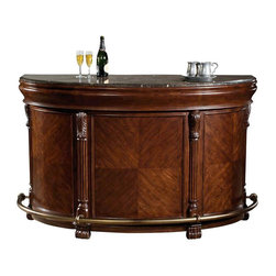 """Howard Miller - Locking Niagara Fold Out Bar Cabinet - Antique brass finished hardware, a radiant Rustic Cherry finish, and finely and deeply beveled cabinet and fa̤ade work are just a few of the elements which make this deluxe wine bar such a stunning and sophisticated wine and spirits storage and serving center. Solve your hosting dilemmas with this elegant and fully serviceable accent piece. The Niagara Home Hide-A-Bar features a glowing finish and the trusted quality of Howard Miller craftsmanship. Superior cabinetry supports spacious shelving and interiors for wine, spirits, stemware and much more. This full-featured cabinet provides racks for stemware above and wine bottles below, plus a convenient center pull-out shelf. * A rare Italian marble top provides an elegant surface for serving drinks on this demilune (half-moon) shaped barThe laminated marble top is removable for easy handlingThe finish shows off the sunburst veneers and heavily carved columns and feetAdditional features include wine racks and a hanging stemware rack; a center pull-out shelf; insulated stainless steel bins for chilling wine and condimentsSide-hinged top drawers lock into position, and feature dovetailed drawer construction with metal roller guides. A black granite cutting board fits inside top drawerAntique brass-finished footrestsFinished in distressed Rustic Cherry on select hardwoods and veneersLocking door for added securityH. 42"""" (107 cm) x W. 75-3/4"""" (192 cm) x D. 27-1/2"""" (70 cm)"""