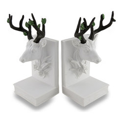 Zeckos - White Deer Head Bas-Relief Sculptural Bookends Set of 2 - This set of bookends really captures a sleek lodge look with its bas-relief image of a deer head showing off a wide rack of antlers. Cast in resin, each piece measures 8 1/4 inches (21 cm) high, 3 inches (8 cm) wide, 3 5/8 inches (9 cm) deep, and is hand-painted in a stark white with earthy brown antlers bearing green leaves. This set will beautifully show off your favorite written works in your home or office, or create a stunning show as an accent to your chic outdoorsy decor. Wherever you choose to display this set of bookends, they're sure to be admired, and make a wonderful gift for a deer loving friend