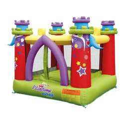 Kidwise - Kidwise Playtime Castle Inflatable Bounce House - KWWS-PCB-02R - Shop for Tents and Playhouses from Hayneedle.com! Additional FeaturesIncludes a 110v Blower with a 1 year warrantyComes with carry bag stakes and instructions30 day warranty for manufacture material defectsNot for commercial useInterior: 72L x 72W inchesExterior: 7.5 x 7.5 x 6.2H feetPerfect for boys and girls alike the vibrant and fun Kidwise Playtime Castle Inflatable Bounce House is sure to be a hit with your kids and their friends. Ideal for kids age three to eight the bounce house is designed with bright colors turrets and an arched door sure to spark young imaginations. Constructed of durable 420D Oxford nylon with double stitching and a vinyl backed floor this bounce house castle is designed to last. One to two kids can bounce at a time in the bounce house and the floor measures 72L x 72W inches. The entire bounce house measures 7.5L x 7.5W x 6.2H feet making it perfect for your backyard. The velcro entrance door will keep your kids safe inside while the mesh sides let you watch the fun. The bounce house includes a carry bag stakes instructions and a blower which has a one year warranty. The entire bounce house has a 30 day manufacturer material defects warranty. Not for commercial use.A lead-free product: a note from KidwiseRecent concerns regarding inflatable bounce products with illegal lead concentrations have lead to allegations against producers and distributors of these products by the state of California. Naturally this serious matter is of concern to us and to our customers. Kidwise products are not included in these allegations. Our materials are tested at intervals throughout the year and after production runs. We have always tested for lead content in materials to verify our products are safe for kids. We also use 3P fabric which protects kids from the three main phthalates banned by the recent CPSCIA act. Rest assured - Kidwise products are tested and safe!