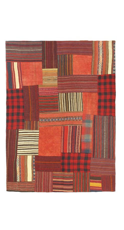 """Torabi Rugs - Flat-weave Bohemian Light Red Wool Kilim 4'11"""" x 6'9"""" - This patchwork rug is made of vintage classic kilim pieces which are sewn together to form a truly one of a kind larger rug. This quirky and eclectic piece is painstakingly hand stitched. Light weight, this can also be used as a bedspread or throw. A colorful and updated vision of style, color and texture."""