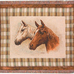 Manual - Field of Dreams Horse Print Tapestry Throw Blanket 50 Inch x 60 Inch - This multicolored woven tapestry throw blanket is a wonderful addition to your home or cabin. Made of cotton, the blanket measures 50 inches wide, 60 inches long, and has approximately 1 1/2 inches of fringe around the border. The blanket features a print of a pair of horses, shown from the neck up, against a light tan background. Care instructions are to machine wash in cold water on a delicate cycle, tumble dry on low heat, wash with dark colors separately, and do not bleach. This comfy blanket makes a great housewarming gift that is sure to be loved.
