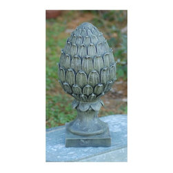 Ladybug - Pineapple Finial Statue in Moss Finish - 1-Year warranty. Made in USA. Made of pecan shell resin. 5 in. W x 5 in. D x 15 in. H (6 lbs.)The finishes are applied by hand, enhancing every detail, and resulting in the uniqueness of no two pieces being exactly alike. Each individually hand-crafted piece of Ladybug product is cast in a crushed marble or resin composition which has the ability to capture and reproduce the same definition and minute detail as the original. It is a substantial, non-porous material which does not absorb moisture, making it ideal for outdoor use, although it offers the strength and durability required to endure even extreme weather conditions.