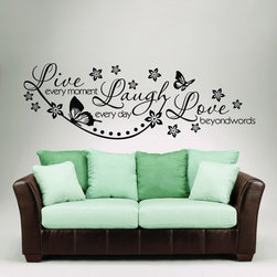ColorfulHall Co., LTD - Butterfly Wall Decals Live Every Moment Laugh Everyday - You will find hundreds of affordable peel - and - stick wall decal designs, suitable for all kinds of tastes and every room in your house, including a children's movie theme, characters, sports, romantic, and home decor designs from country to urban chic. Different from traditional decals, vinyl wall decals is with low adhesive that allows you to reposition as often as you like without damaging the paint. Application is easy: peel offer the pre-cut elements on the design with a transfer film, and then apply it to your wall. Brighten your walls and add flair to your room is just as easy.
