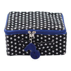 Pakhuis Oost - Star Fabric Suitcase, Black with White Stars - Want to visit Neverland? Take a trip, decorate your child's room or store special toys with this versatile star-print suitcase. A colorful zipper and cheerful tag in contrasting colors complement the small star print.